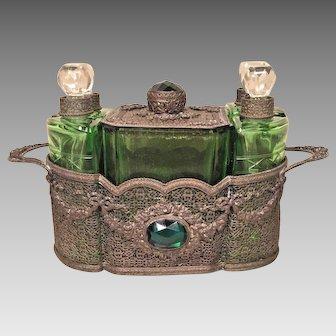 Vintage Austrian 1930s Perfume Caddy Green Glass Scent Bottles w/ Etched Design White Metal Holder Stamped Austria