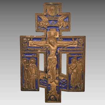 Bronze and Enamel Icon Christ Crucified at Golgotha with Surrounding Saints