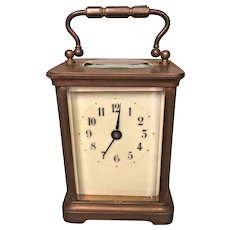 Antique French Carriage Clock   Runs! Time Only Beveled Glass  H&H Distributor