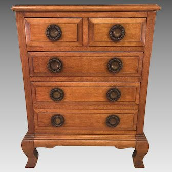 Vintage Child's Dresser Provincial Style Fruitwood Finish Raised Panel Drawers  1930s to 1940s  Would Make a Great Jewelry Chest!