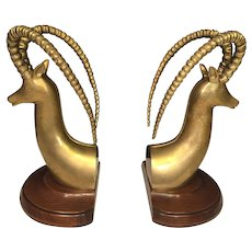 Sculptured Brass Ram / Gazelle Head Bookends w/ Mahogany Base by Sarreid Ltd Spain