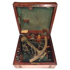 Antique Brass Sextant Octant Springdale Limited Southsea in Mahogany Wood Case   Lots of Attachments and Lenses
