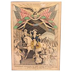 N Currier Lithograph of George Washington's Reception by the Ladies on Passing the Bridge at Trenton April 1789 on His Way to New York to be Inaugurated the First President of the United States  done in 1845 Plate 365