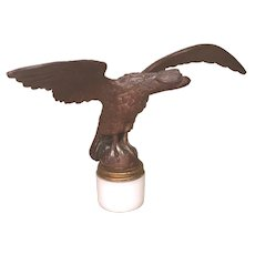 Vintage Brass Spread Wing Eagle Flag Pole Topper Mounted on Milk Glass Jar