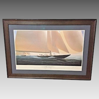 John MeCray Ltd Edition Giclee of Racing Sloop  The Chase Shamrock V Leading Brittania # 380 of Edition of 975 Framed & Matted