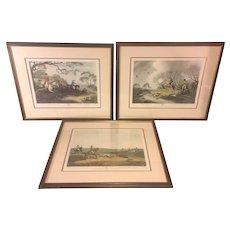 3 Vintage Hunting Prints Framed & Matted   James Godby & Henri Merke   after Samuel Howett Paintings