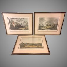 3 Vintage Hunting Prints Framed & Matted   James Godby & Henri Merke   after Samuel Howett Paintings
