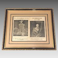 Ulysses S Grant Death Memorial Pieces   2 Sided Framed & Matted 1885