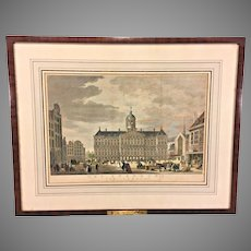 Antique Hand Painted Engraving 1765  Het Staduis Van Vooren   (Stein Hall & Co)    Brass Plaque Framed & Matted