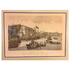 Antique Vue De Port De New York 1788 Mahogany Framed & Matted