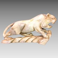 Oriental Carved Hardstone Foo Lion Beautiful Detailing 1 Foot in Length