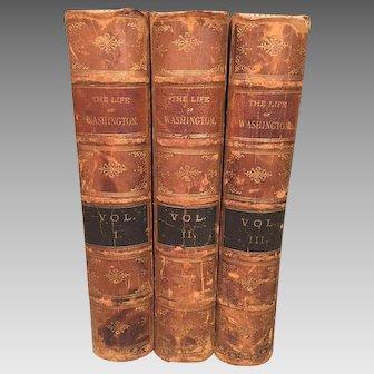 Washington Irving's Life of Washington 3 Vols 1856  Leather Bound   Publisher John W Lovell Company