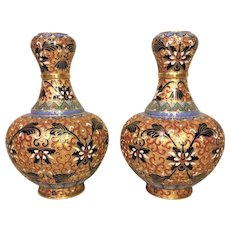 Vintage Pair of Chinese Cloisonne Enamel Vases Beautifully Detailed Multicolor