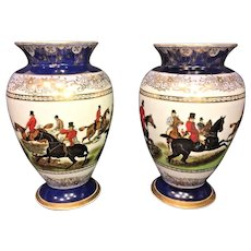 Pair of Limoges Hunting Scene Vases    Beautifully Colored and Detailed