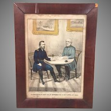 Surrender of General Lee at Appomattox Courthouse Virginia April 9th 1865 Lithograph 1865  Engraved by Jame Baillie