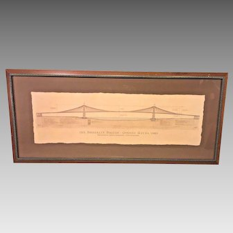 Antique Brooklyn Bridge Schematic Opened May 24, 1883  Designed by John Roebling  Hand Painted