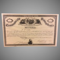 Civil War War Damages Certificate Chambersburg PA 1864 when Jubal Early Troops Fired Town after Ransom Not Paid and Photo of Lincoln Train in Harrisburg R F Hutton