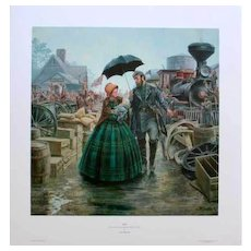 """Mort Kunstler Ltd Edition Civil War Lithograph  """"Julia"""" #162 of 2000 w/ Certificate of Authenticity and Original Packing  Stonewall Jackson & Family Guiney's Station April 1863"""