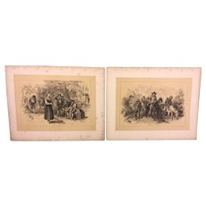 Set of 13 Felix Octavius Carr Darley Drawing Lithographs on Paper  from the 1880s