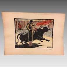 Bullfighting Print Signed Pased Pecho Great Colors and Detailing  Small Tears on Edge Slight Creases #1 of 2
