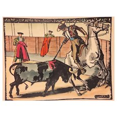 Bullfighting Print Signed Varas  Great Colors and Detailing  Small Tears on Edge Slight Creases #2 of 2