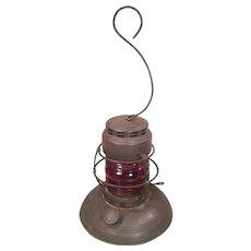 Antique Embury Lantern with Red Lamp No 40 Traffic Gard Warsaw NY