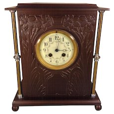 Antique Vincenti French Mantel Clock with Porcelain Face Bronze Metal Case Runs & Strikes