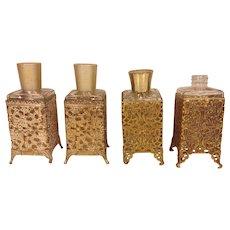 4 Vintage Ormulu and Glass Vanity/Dresser Lotion/Perfume Bottles