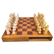 Wood Chess Case with Drawers Molded Plastic Playing Pieces Roman or Greek Motiff China