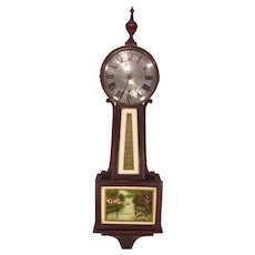 Antique New Haven Banjo Clock Time Only Waring Model Runs