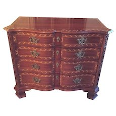 Vintage #25300 John Widdicomb Inlaid Serpentine Front Colonial Chest Dresser 4 Drawers Inlaid Wood (#1 of 2 Available)