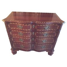 Vintage John Widdicomb Inlaid Serpentine Front Chest 4 Drawers Inlaid Wood # 25300 (#2 of 2 Available)