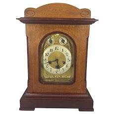 Vintage Junghans Bracket Clock with Westminster Chimes A07 Movement Runs Impressed Wood Mahogany Case