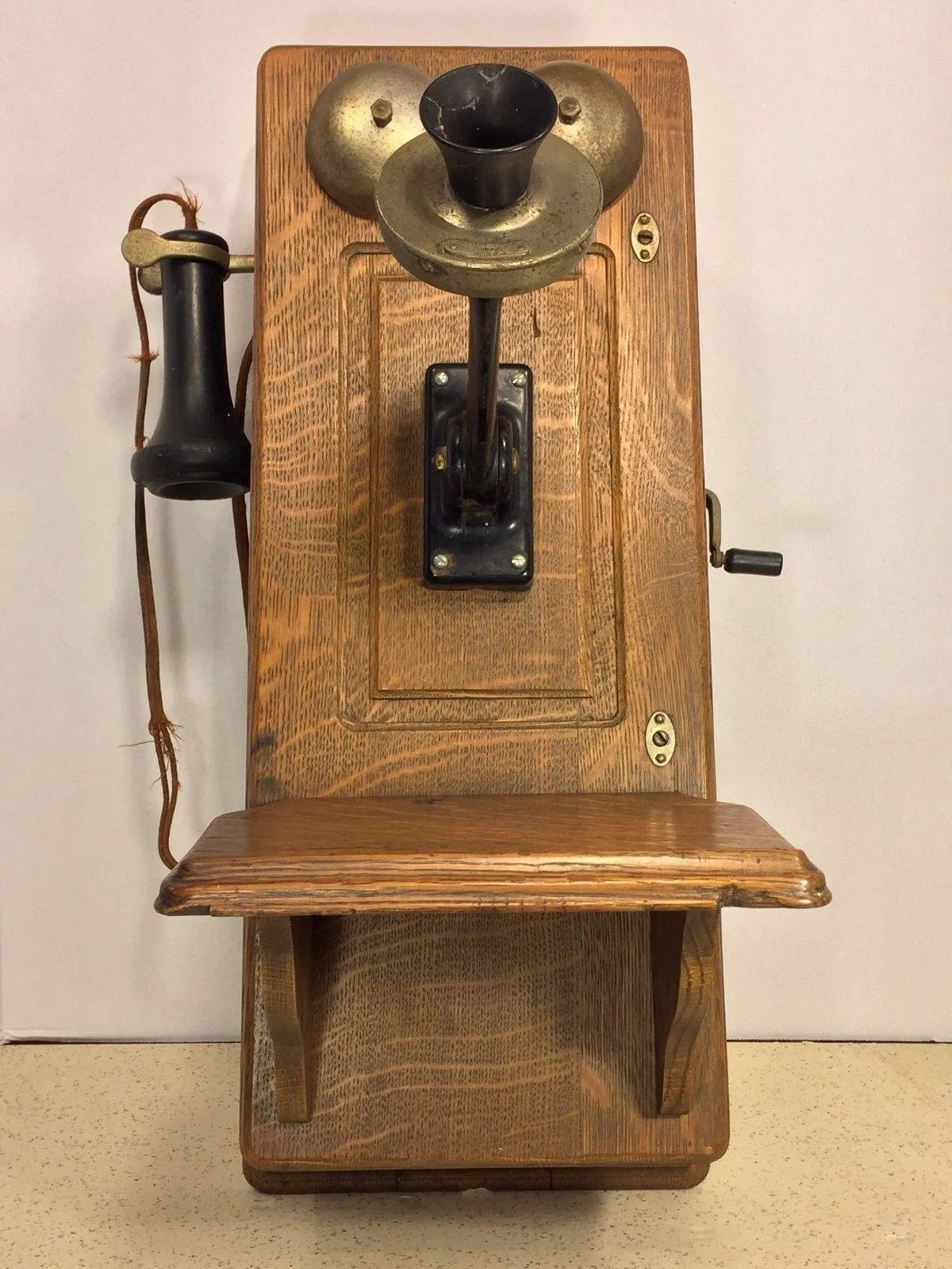 Click to expand - Antique Western Union Oak Hand Crank Wall Telephone