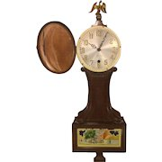 Vintage Sessions Banjo Clock Runs Time Only Eagle Finial Mahogany Case Colonial Street Scene