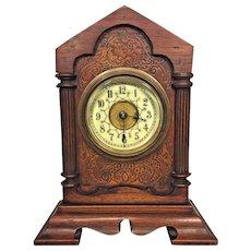 Antique Philipp Haas & Sohne Teutonia  Shelf Clock Porcelain Face w/ Alarm Not Running Germany