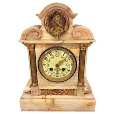 Antique Onyx Mantel Clock Japy Freres Movement Great Case Porcelain Dial with Great Detailing Woman Bust in Wreath Not Running