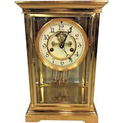 Vintage Waterbury Crystal Regulator Clock Porcelain Face Faux Lead Pendulum Runs & Strikes
