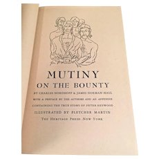 Mutiny on the Bounty by Charles Nordhoff & James Hall Heritage Press 1947 Illustrated by Flethcher Brown w/ Slipcover Published by George Macy Companies