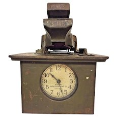 Vintage Baird Equipment Co Time Card Punch Clock Mechanical Clock Movement Nice Label Runs Chicago IL
