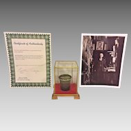 Antique Abraham Lincoln Medicine Cup from the   Herbert Fay Collection of Lincolniana  in Display Case Certificate of Authenticity from Keya Gallery in Lower Manhattan, NY