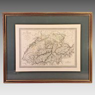 Antique 1824 Carte Hand Colored Map of Suisse (Switzerland) Lois Vivien Cartographer Menard & Desenne Publisher