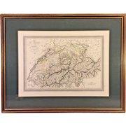 Antique 1824 Carte Hand Colored Map of Suisse (Switzerland) Lois Vivien Cartographer Menard & Desenne Publisher