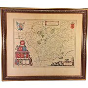 Antique Map of Leicestrensis Comitatus by Joan Blaeu (Leicestershire) England Circa 1645 Hand Colored w/ Coat of Arms