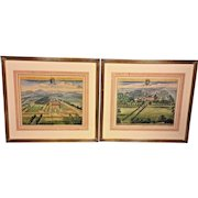 Pair of Antique 18th C Hand Colored Engravingss by Johannes Kip - Engraver Delin  Nibley, The Seat of George Smyth & Shipton Moyner, the seat of Mrs Hodges Framed & Matted