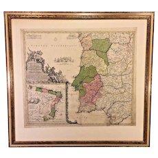 Johanne Bapt Homanno (Homann) Hand Colored  Antique 1702 Map of Portugallia et Algarbia & Brasilia (South America)
