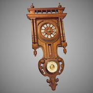 Antique Black Forest Wall Clock w/ Barometer & Thermometer Nice Gallery Topper No Pendulum Not Running