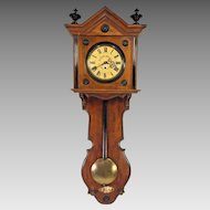 Antique Gebrueder Resch Free Swinger Wall Clock Time Only Great Wood Case Broken Wood Pendulum Shaft Late 1860s to Early 1870s Runs