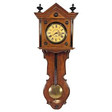 Antique Gebrueder Resch Free Swinger Wall Clock Time Only Great Wood Case Broken Wood Pendulum Shaft Late 1860s to Early 1870s Runs