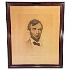 Antique Abraham Lincoln Stone Lithograph Print Joseph Roderfer DeCamp L Prang in Frame Circa 1897